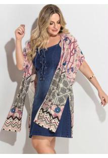 Kimono Barrado Rosê Fenda Plus Size Quintess