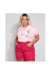 Camiseta Feminina Plus Size Estampada Tie Dye Florzinha Manga Curta Decote Redondo Rosa