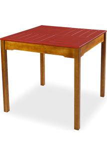 Mesa De Jantar Compacta De Madeira Maciça Taeda Natural Com Tampo Colorido Olga - Verniz Nozes/Vermelho 80X80X75Cm