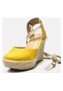 Sandália Anabela Salto Alto Em Camurça Amarela Com Salto Em Juta