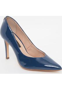Scarpin Em Couro Com Tag - Azul Marinho- Salto: 9,5Jorge Bischoff
