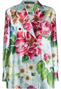 Dolce & Gabbana Blazer Floral Com Abotoamento Duplo - Azul