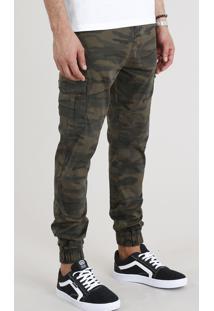 Calça Masculina Jogger Cargo Estampada Camuflada Verde Militar