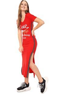 Vestido Coca-Cola Jeans Midi Aroma Lettering Vermelho