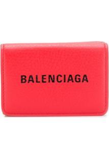 Balenciaga Carteira Everyday Mini Com Logo - Vermelho