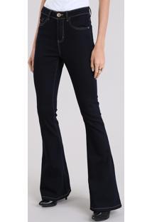 65649b152 R$ 99,99. CEA Calça Jeans Feminina Flare Cintura Alta Com Pesponto Azul  Escuro