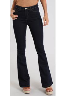 Calça Jeans Feminina Flare Cintura Alta Com Pesponto Azul Escuro