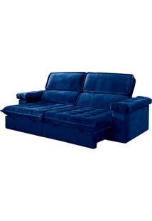 Sofá Sono Show - Retrátil E Reclinável - Azul Luxo - 250Cm