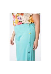 Calça Lisa Plus Size Pantalona Botões Azul Turquesa