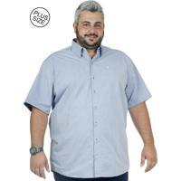 b651a1022 Camisa Plus Size Bigshirts Manga Curta Poá Maquin - Azul
