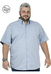 Camisa Plus Size Bigshirts Manga Curta Poá Maquin - Azul
