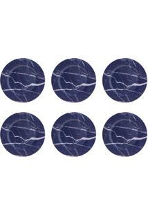 Conjunto De Sousplat Com 6 Peças Smog Azul 33 Cm