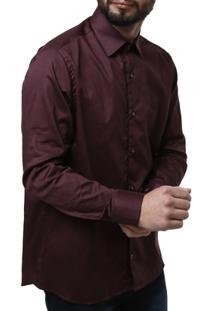 Camisa Manga Longa Masculina - Masculino-Vinho