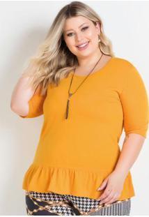 Blusa Amarela Com Babado Na Barra Plus Size