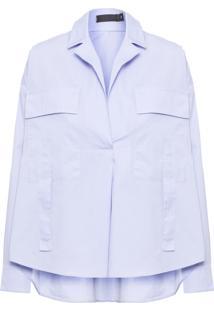 Camisa Feminina Bolso Amplo - Azul