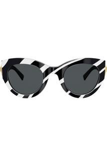 Versace Eyewear Óculos De Sol Com Estampa De Zebra - Preto