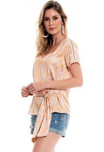 Blusa Bisô Amarração Estampada Feminino - Feminino-Bege