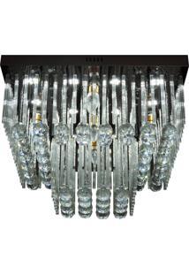 Lustre De Cristal Diamante 1529/500 Quadrado 328W Bivolt Prata