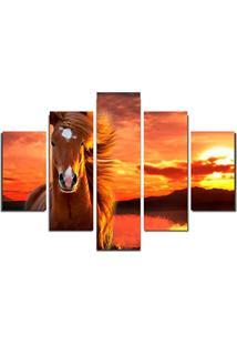 Quadro Painel Mosaico Decorativo 5 Partes Cavalo Por Do Sol
