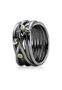 Anel De Prata Oxidada Com Ouro E Diamantes - 50
