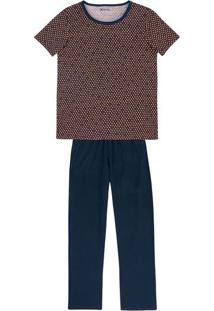 Pijama Feminino Em Malha De Algodão Com Estampa Micro Padrão