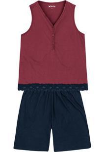 Pijama Feminino Em Malha De Algodão Com Peitilho Funcional