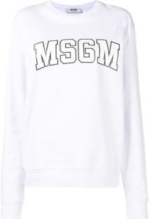 Msgm Moletom Com Logo - Branco