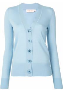 Tory Burch Cardigan Simone Com Decote Em V Em Lã Merino - Azul
