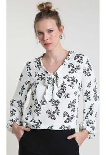 Blusa Feminina Estampada Floral Manga Longa Gola Laço Off White