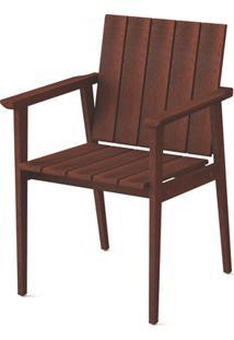 Cadeira Com Braços Em Madeira 85X56,1X57,4Cm Mogno