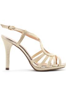 Sandália Salto Fino 10Cm Sintético Dourado Cbk - Kanui