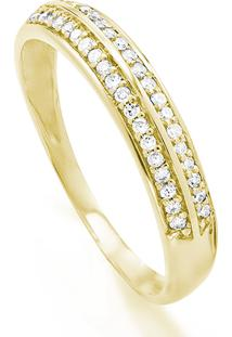 Anel Em Ouro Amarelo 18K Com Diamante - Meia Aliança 15