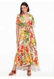 Vestido Cropped Floral Frutado Bege