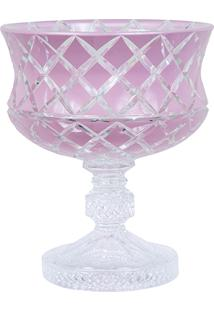 Centro De Mesa De Cristal Lodz Rosa