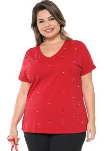 Blusa Cativa Plus Pérolas Vermelha