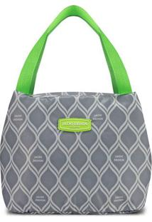 Bolsa Térmica Geométrica- Cinza & Verde Claro- 23X19Jacki Design