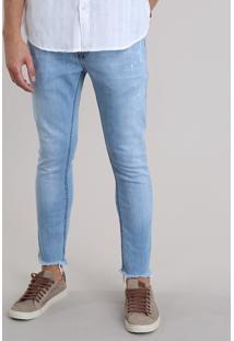 Calça Jeans Super Skinny Cropped Azul Claro