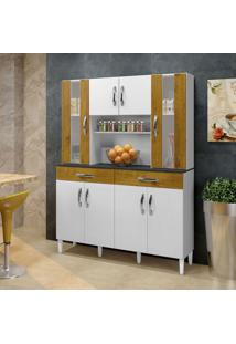 Armário De Cozinha Branco/Ipê 08 Portas 02 Gavetas - Arte Móveis