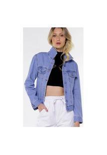 Jaqueta Jeans Básica Azul Clara Sob Com Bolsos
