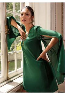 Vestido Clássico Verde Manga Capa Ampla