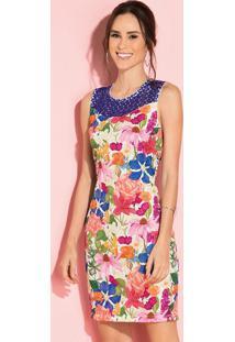Vestido Clássico Floral Azul Com Renda