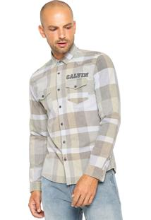 Camisa Calvin Klein Jeans Xadrez Bege