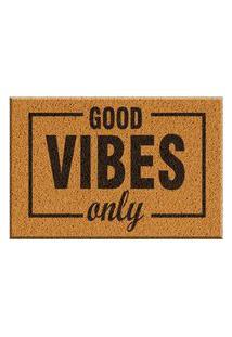 Capacho De Vinil Good Vibes Only Amarelo Único Love Decor
