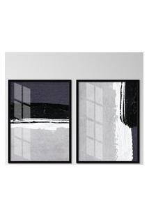 Quadro 65X90Cm Abstrato Igandea Moldura Preta Sem Vidro Decorativo Interiores