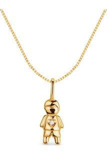 Pingente Menino Ouro Amarelo E Diamantes 15 Mm