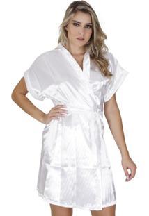Robe Click Chique Manga Curta Com Amarradura - Feminino-Branco
