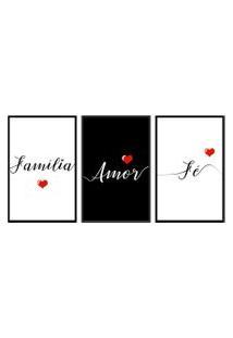 Quadro 60X120Cm Frases Família Amor Fé Moldura Preta Com Vidro Decorativo