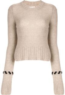 Khaite Suéter Com Pesponto Contrastante - Marrom