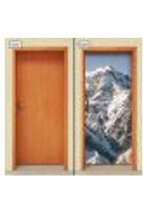 Adesivo Decorativo De Porta - Montanha - Neve - 988Cnpt
