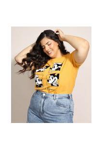 Blusa Feminina Plus Size Mickey E Minnie Flocada Manga Curta Decote Redondo Mostarda